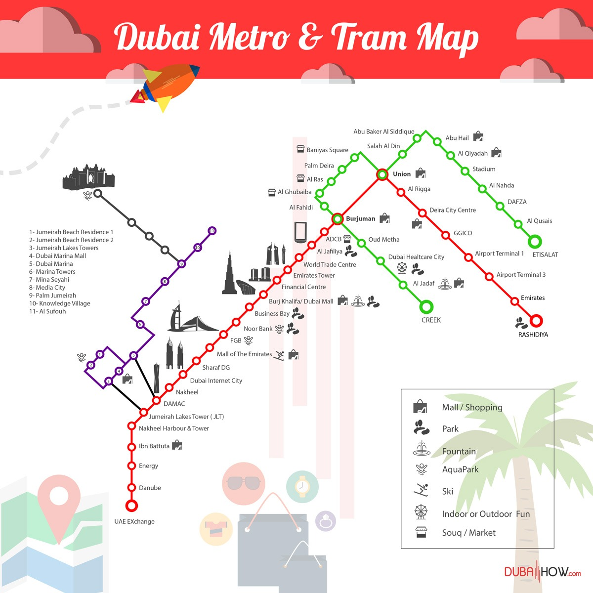 Dubai Metro Map High Resolution + Dubai Tram